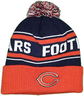 Chicago Bears Youth Bears Football Cuffed Knit Hat With Pom NFL Official Beanie