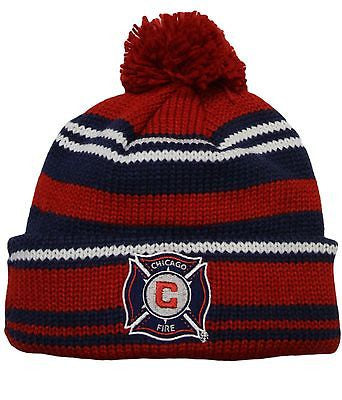 Chicago Fire SC Cuffed Knit Pom Hat Adidas MLS Official Beanie