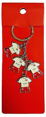 Poland 4 Polska Soccer Jerseys Keychain Red and White Polish Key Chain