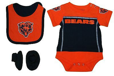 Infant Chicago Bears 3 Piece Creeper Set Onesie, Bib, and Booties NFL Bodysuit