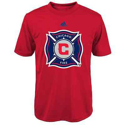 Youth Chicago Fire Primary Logo Climalite Red T-Shirt MLS Adidas Official Tee