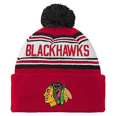 NHL Chicago Blackhawks Youth 8-20 Cuffed Knit Pom Hat, One Size, Red