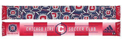 "Chicago Fire SC ""Repeating Logo"" Polysester Team Pride Scarf MLS Adidas Official"
