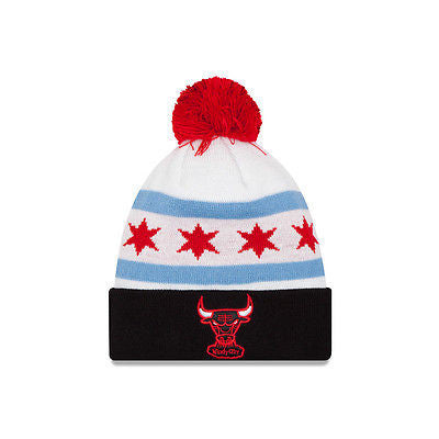 Chicago Bulls New Era City Factor Cuffed Knit Hat with Pom NBA Official Beanie
