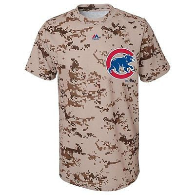 Youth Chicago Cubs Digital Camo Wordmark T-Shirt Majestic MLB Official Tee
