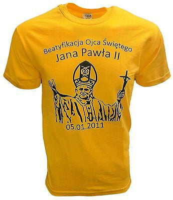John Paul 2nd Pope Vatican T-Shirt Rome Catholic Church Pride Tee Saint Yellow