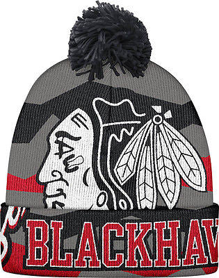 Youth Chicago Blackhawks Face-Off Cuffed Knit Hat with Pom NHL Reebok Beanie