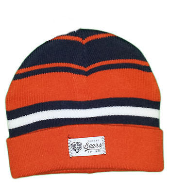 Chicago Bears Youth Cuffed Knit Hat NFL Official Beanie - Orange/Navy Blue