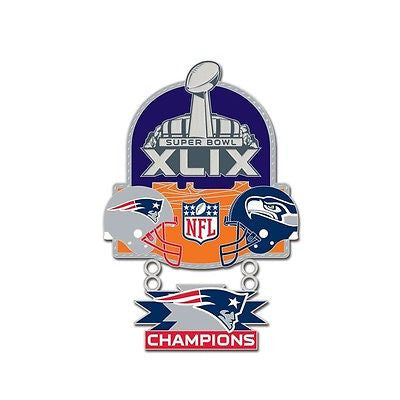 New England Patriots Seattle Seahawks Super Bowl Champion Collector Pin Jewelry