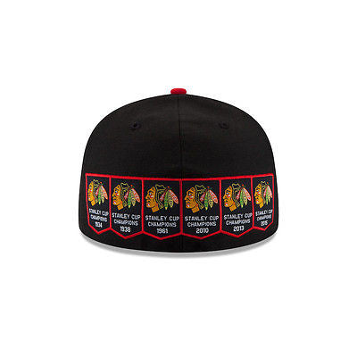 Chicago Blackhawks New Era 6-Time Stanley Cup Chamipions Banners Fitted Hat Cap