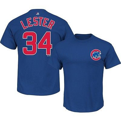 Chicago Cubs Youth #34 Jon Lester Jersey Style Textured T-Shirt MLB Official Tee
