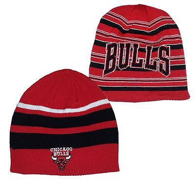 Chicago Bulls Reversible Striped Beanie Cuffless Knit NBA Adidas Official Hat