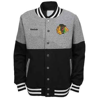 "Youth Chicago Blackhawks ""Throwback Block"" Button Up Sweater Jacket NHL Reebok"