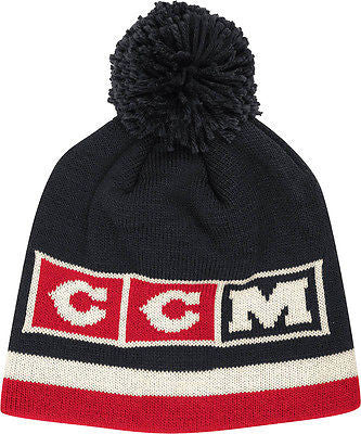Chicago Blackhawks Vintage Logo Knit Hat with Pom CCM NHL Official Black Beanie