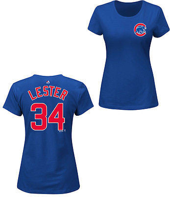 ec26288c4d1e0 Sale Chicago Cubs Women s Jon Lester  34 T-Shirt MLB Majestic Official Tee