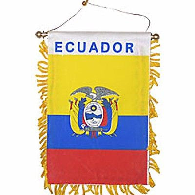 "Ecuador Tassel Flag Mini Banner 4""x6"" Pack Of Two Ecuador Pennant 15 x 10 CM"