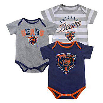 "Infant Chicago Bears ""Field Goal"" 3 Piece Creeper Set NFL Bodysuit Onesie"