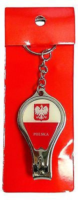 Poland Flag Polska Round Nail Clippers Keychain Red and White Polish Key Chain