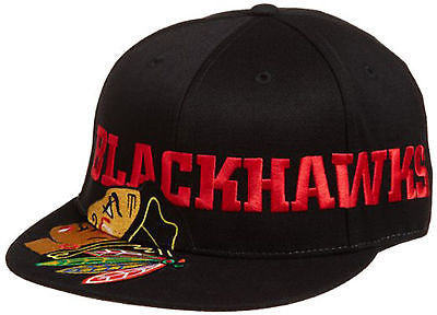 Chicago Blackhawks Game Day Pro Shape Flat Brim Hat Flex Fitted Hat NHL Official