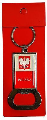 Poland Polska Flag Bottle Opener Keychain Red & White Polish Key Chain
