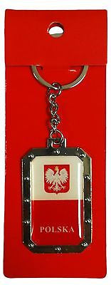 Poland Polska Flag Keychain Red & White Polish Key Chain