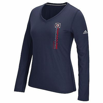 Women's Chicago Fire SC Vertical Climalite T-Shirt Adidas Official Ultimate Tee