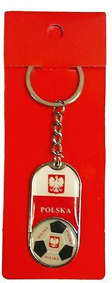 Poland Polska Soccer Ball & Flag Keychain Red & White Polish Key Chain