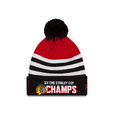 Chicago Blackhawks New Era 6 Time Stanley Cup Champions Pom Knit Hat NHL Beanie