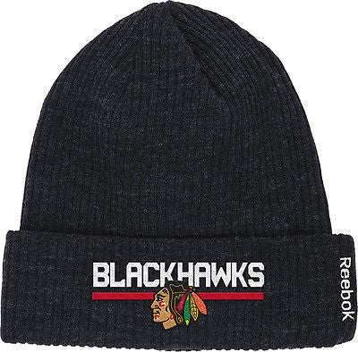 Youth Chicago Blackhawks Center Ice Cuffed Knit Hat NHL Reebok Black Beanie