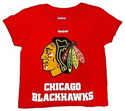 Toddler Chicago Blackhawks Combined Team Logo and Writing T-Shirt NHL Tee
