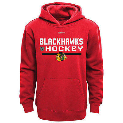 Youth Chicago Blackhawks PlayDry Center Ice Hoodie NHL Reebok Sweatshirt - Red