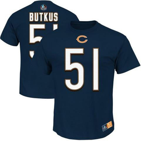 Chicago Bears Dick Butkus #51 Hall of Fame Eligible Receiver II Men's Navy Shirt