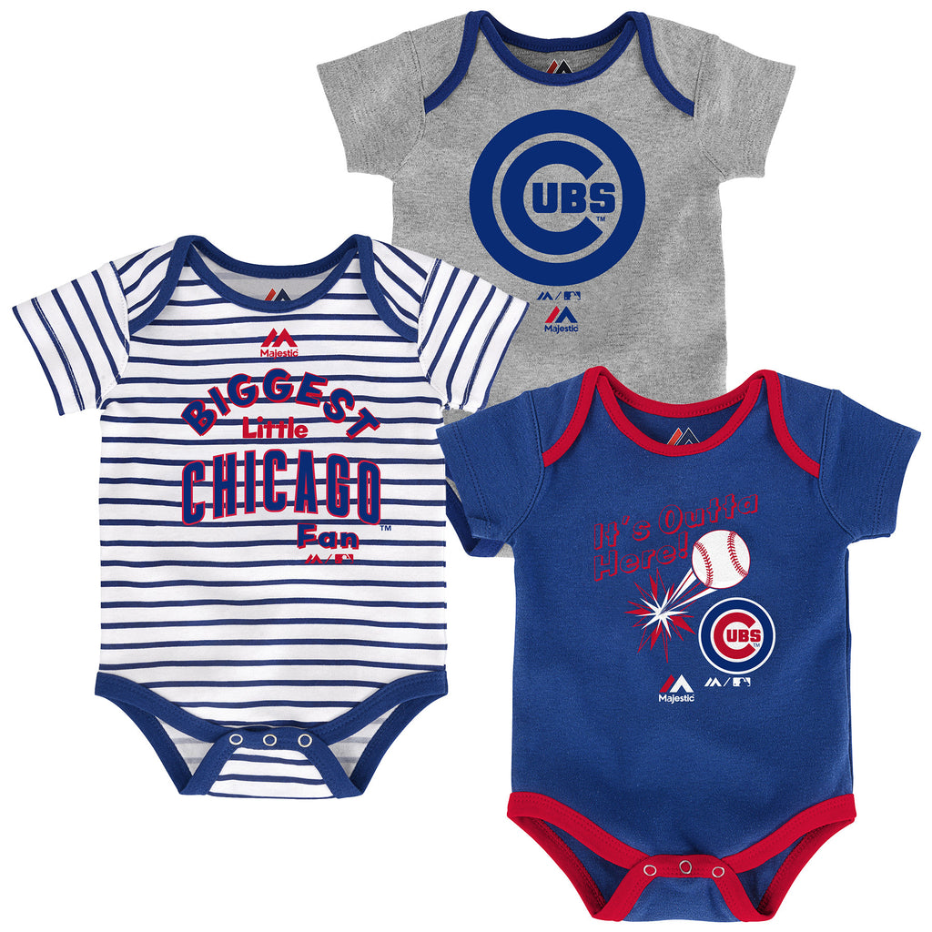 "Infant Chicago Cubs ""Homerun!"" 3-Piece Creeper Set Bodysuit"