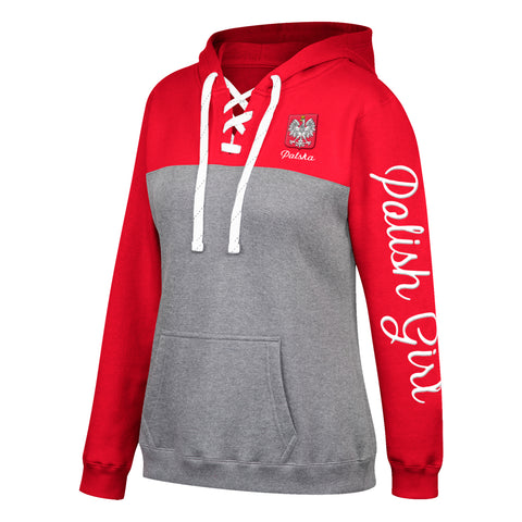Women's Polska Polish Girl Premium Fleece Lace Up Hoodie