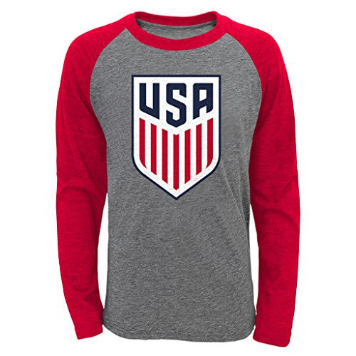 World Cup Soccer United States Boy's March on Long Sleeve Tee, Gray