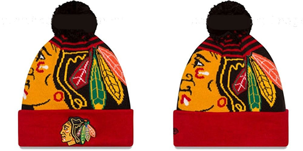 "Chicago Blackhawks New Era NHL ""Logo Whiz 2"" Cuffed Knit Hat with Pom"