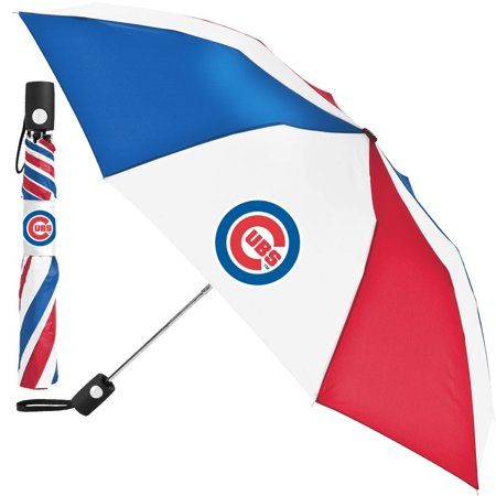 "Chicago Cubs Auto Folding Umbrella MLB Official 42""-48"" Coverage"