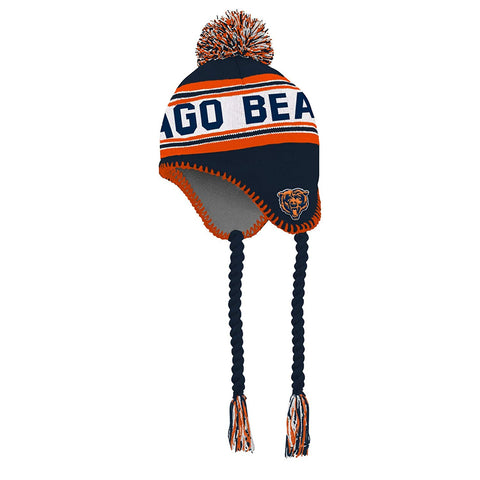 NFL Boys 4-7 Tassel Knit with Pom Hat-Deep Obsidian Chicago Bears