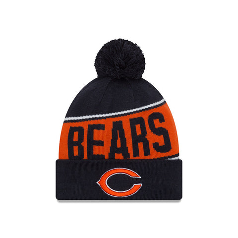 Chicago Bears Men's New Era Team Chant Pom Knit Winter Hat - Navy
