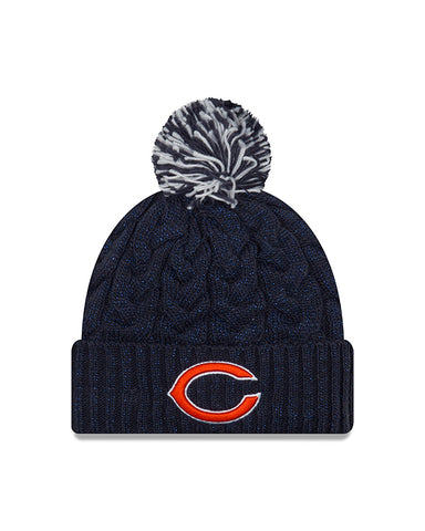 Chicago Bears New Era Women's Navy Cozy Cable Cuffed Knit Hat