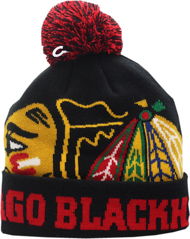 Chicago Blackhawks Knit Hat Cuffed Pom Colossal Indian Logo