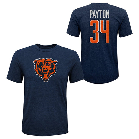 Youth Walter Payton #34 Chicago Bears Tri-Blend Name and Number Short Sleeve T-Shirt