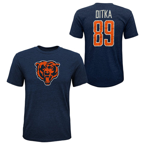 Youth Mike Ditka #89 Chicago Bears Tri-Blend Name and Number Short Sleeve T-Shirt