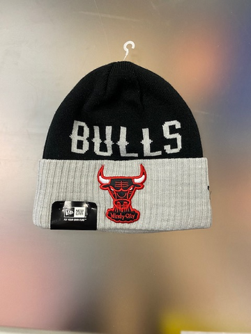 New Era Chicago Bulls Adult Classic Cover Winter Knit Hat -Black/Grey
