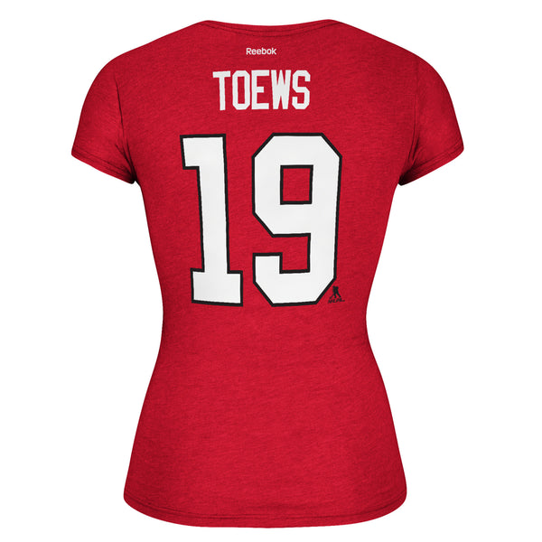 Women's Chicago Blackhawks Jonathan Toews #19 Cap Sleeve T-Shirt NHL Reebok Tee