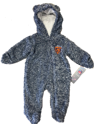 Chicago Bears NFL Infant Game Nap Teddy Fleece Bunting -Navy