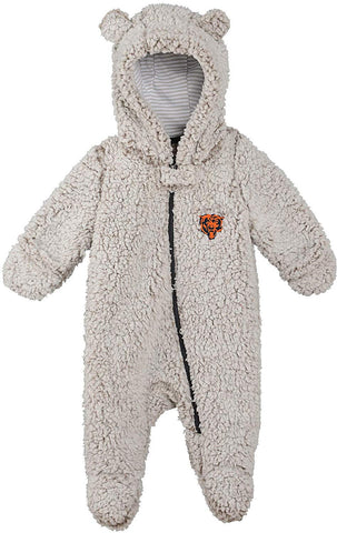 OuterStuff Chicago Bears Infant Game Nap Teddy Fleece Zip-Up Coverall