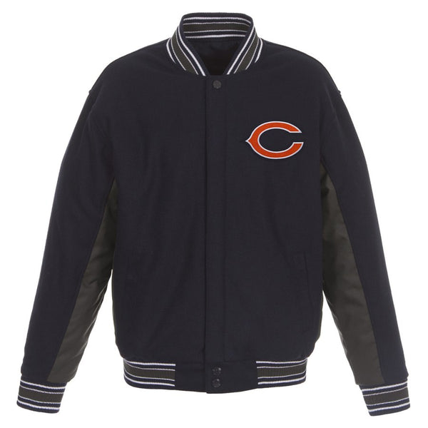 Mens Chicago Bears JH Design Navy Wool Reversible Full-Snap Jacket