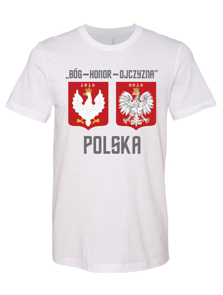 Polska Polish Crest Eagle T-shirt Bog Honor Ojczyzna 1918-2018 Short Sleeve Tee