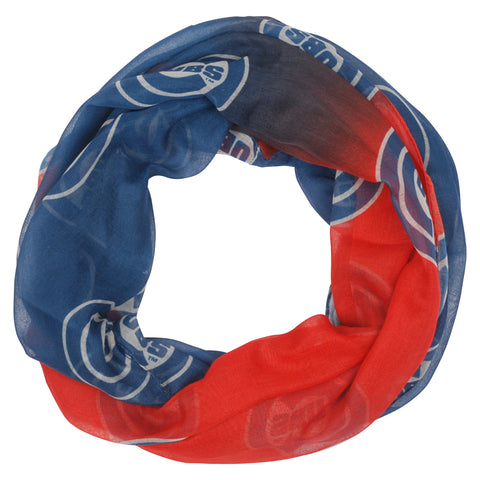Chicago Cubs Red Blue Women's Team Logo Infinity Scarf